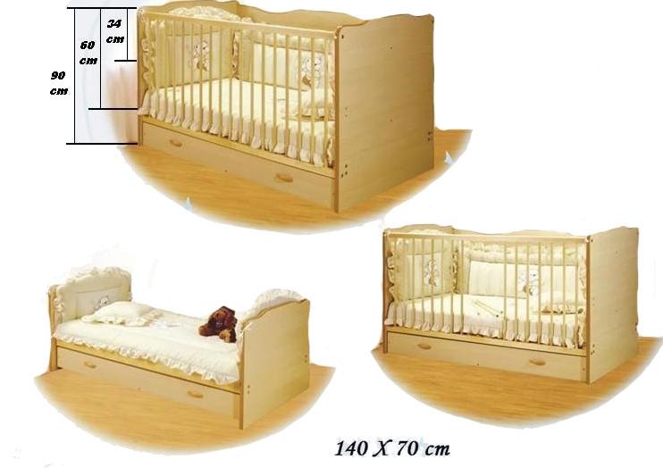 Bretco Design - Patut copii CINDY -Transformabil (cu sertar) - Natur 140x70 cm