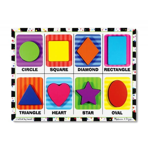 Melissa & Doug - Puzzle lemn in relief Forme geometrice
