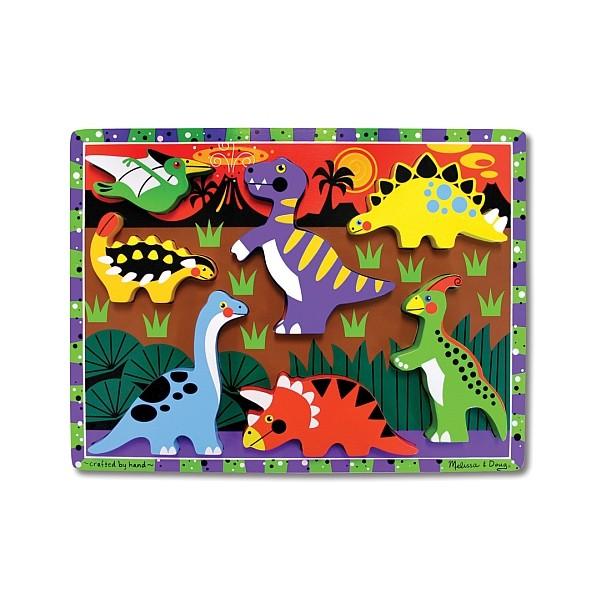 Melissa&Doug - Puzzle lemn in relief Dinozauri